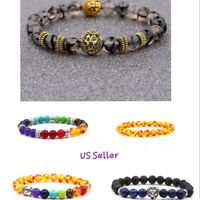 Men's Women Lava Tiger Eye Stone Lion Buddha Beaded Elastic Bracelet Bangle