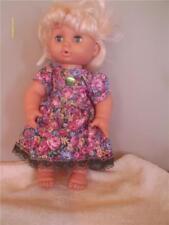 "DOLL CLOTHES BABY DOLL 11"" DRESS SET PANTIES DARK PINK ROSE PRINT"