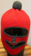 NICE KIDS FULL FACE MASK WINTER COLD PROTECTION RED with GRAY, POMPOM, GUC!!