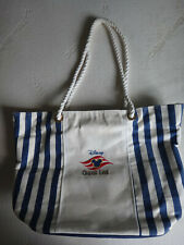 Vintage Disney Cruise Line White Blue Striped Beach Tote Bag with Rope Handles