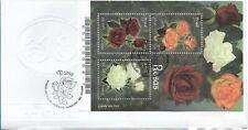 BRAZIL BRASIL 2007 ROSES FIRST DAY COVER SOUVENIR SHEET ON FDC FLOWERS