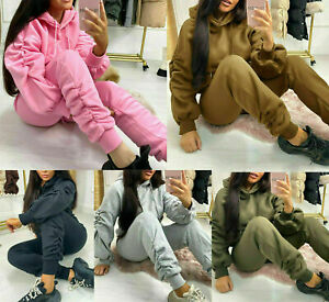 Ladies Womens Ruched Sleeve Oversized Hooded Lounge Wear Joggers Tracksuit Set
