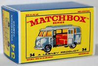 Matchbox Lesney No 34  VOLKSWAGEN CAMPER Empty Repro Box style E