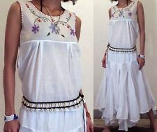 GYPSY BOHO WHITE PIXIES CIRCLE DANCE HIPPIE SKIRT TOP SET