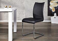 Chaise cantilever doux noir similicuir CHROME Chaise de salle à manger NEUF