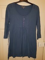 ladies LAURA ASHLEY blue teal tunic top tie back size 12