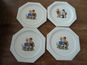 4 Vintage china coasters with children picture Gien France