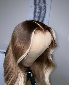 Human Hair Lace Front Wig BLONDE HIGHLIGHT BLEACHED KNOTS