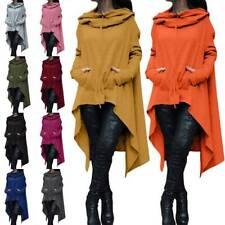 Women Top Ladies Hoodie Hooded Coats Plus Size Hem Dresses Long Sleeve Irregular