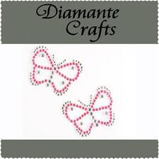2 x 38mm Hot Pink & Clear Diamante Butterflies Rhinestone Vajazzle Body Art Gems