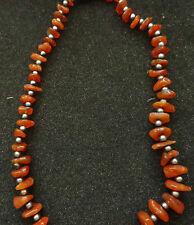 Marvelous BALTIC honey   AMBER  between beads are garnet  NECKLACE WOMEN  16  *