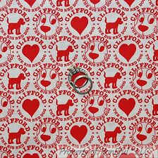 BonEful Fabric FQ Cotton Quilt White Red Clifford Big Red DOG Polka Dot Heart US