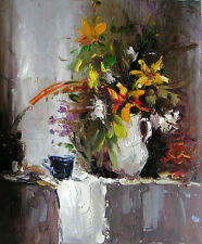 Charming Oil painting nice flowers in white vase low price for sell
