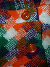 Rare Vtg 2 pc FULL LENGTH Button Front A-Line SKIRT w SHAWL Orange Green PLAID