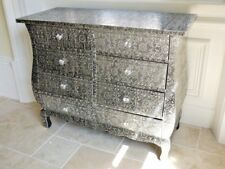 BLACKENED SILVER METAL FURNITURE EMBOSSED MIRRORED 8 DRAW CHEST OF DRAWS 3083