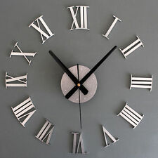 DIY 3D Luxury Wall Clock Large Size Surface Roman Number Decoration SILVER Clock
