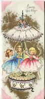 VINTAGE CUTE PRETTY GIRLS MAY POLE CAROURSEL 1 CHRISTMAS TEA CUP CANDY JAM CARD