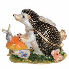 Hedgehog Ornament Display Jeweled Enameled Trinket Box Gift Collectible Figurine