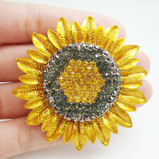 Fashion Jewelry Charming Sunflower Flowers Yellow Rhinestone Crystal Brooch Pin