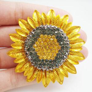 Fashion Jewelry Charming Sunflower Flowers Yellow Rhinestone Crystal Brooch Pin