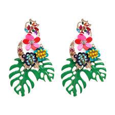 Women Bohemian Beach Green Hollow Leaves Ear Stud Drop Dangle Earrings Jewelry