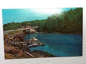 Vintage Postcard Bridge Connecting Orr's Island w/ Great Island Maine ME