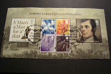 GB 2009 Commemorative Stamps~Robert Burns M/S~Very Fine Used Set~UK Seller