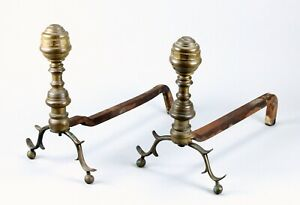 =Antique ea.1800's Pair Federal Andirons Brass Beehive Form Finials & Iron Rails