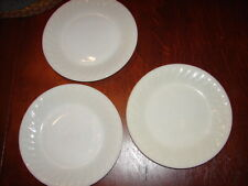 """New listing (3) Vintage Fire King Oven Ware Ivory Swirl 9"""" Dinner Plates Nice Condition!"""