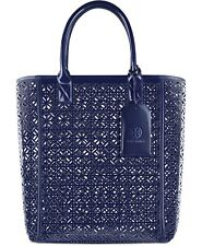 TORY BURCH dark blue indigo perforated handbag purse travel tote beach bag NEW