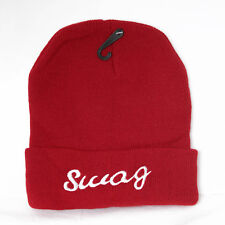 UNISEX MENS WOMANS KNIT KNITTED BEANIE RETRO COOL SWAG Maroon