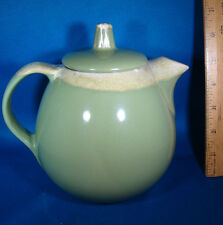 "Hull USA Teapot Art Pottery Ovenproof Green Drip Glaze 6.5"" RARE @4B"