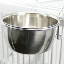 800114 Stainless Steel 10 oz Hook Cup Bird Dog Animal Food Water Bowl Coop Pet
