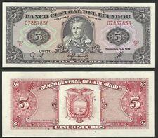 ECUADOR - 5 Sucres 22.11.1988  Pick 113d  UNC  (2)