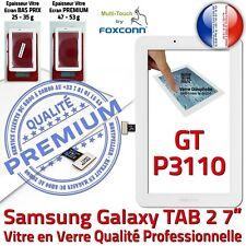 Vitre Tactile GT-P3110 Galaxy TAB 2 Qualité Assemblée Adhésif Ecran Verre Blanc