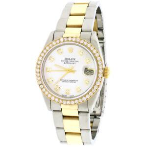 Rolex Datejust 2-Tone Gold/SS 31mm Womens Watch White MOP Diamond Dial/Bezel