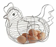 Chrome Plated Chicken Hen Shaped Wire Egg Storage Display Basket Holder Rack