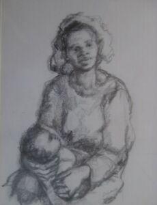 Julie Oshana (1927-2004) African American Philadelphia PA Woman Artist Drawing