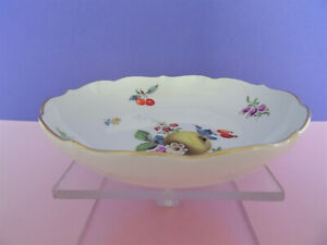 (2.) Meissen Schale, feine Frucht / Obstmalerei mit Blumen 1.Wahl