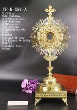 Zircon-Decorated Brass Monstrance reliquary with Tabor Pedestal TP-8-X91-A