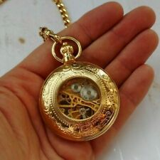 Vintage Gold Tone Majesti Automatic Skeleton Pocket Watch Works 17 Jewels & Fob