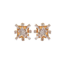 Pave 1.05 Cts Round Brilliant Cut Diamonds Stud Earrings In Fine 18K Yellow Gold