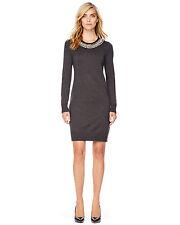 MICHAEL Michael Kors Gray bead Stud Embellished Knit Neck Sweater dress XS $160