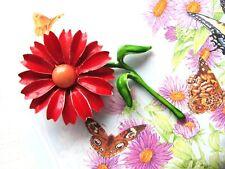 Vintage Sweet Enamel Flower Brooch Red & Green w/ Cabochon Daisy-like Center