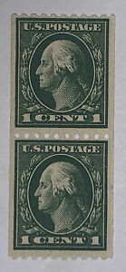 Travelstamps: 1914 US Stamps Scott  #441  MNH, Green, 1 cent , Coil Pair