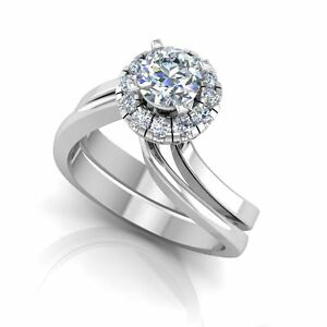 0.51 Ct Round Diamond Solitaire Engagement Ring Set Solid 14K White Gold Band 7