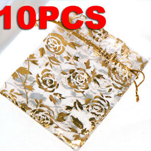 10Pcs Sheer Organza Wedding Party Favor Gift Candy Bags Jewelry Pouches 12x9cm
