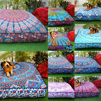 "Indian Mandala  Cushion Ottoman Pouf Dog Bed 37"" Square Floor Pillow Case Throw"