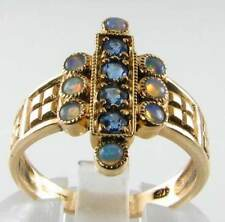 LUSH 9K 9CT GOLD BLUE SAPPHIRE & AUS OPAL ART DECO INS RING FREE RESIZE