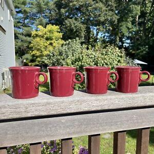 Fiestaware Scarlet Red Mugs-Set Of 4 O Ring Mugs Homer Laughlin Tom & Jerry Mugs